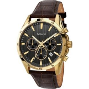 Accurist Men's Chronograph Brown Leather Watch (224795366)