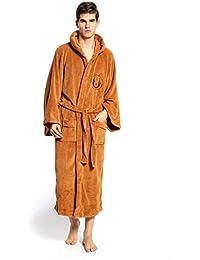 8d6f694491 Men s Long Fleece Hooded Robe Plus Size Super Soft Dressing Gowns