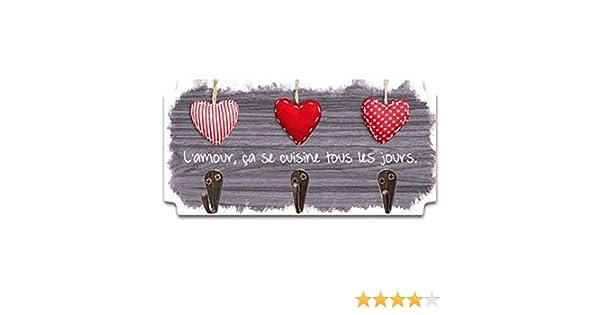 amore, cuoce tutti i giorni 19x10 cm. Strofinacci da cucina in legno Messages marrone 3 ganci Les Tr/ésors De Lily P5299