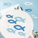 LAKIND 180 Stück Holzfische Deko Streudeko Fische Taufe Deko Junge Holz Fisch Konfirmation Kommunion Dekoration Streuartikel Tischdeko(Blau & Weiß-180st) - 5