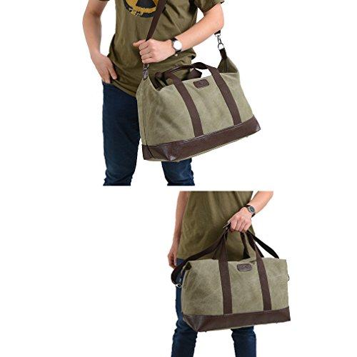 Herren Canvas Wochenende Tasche Reisetasche Satchel (Schwarz) Armee-Grün