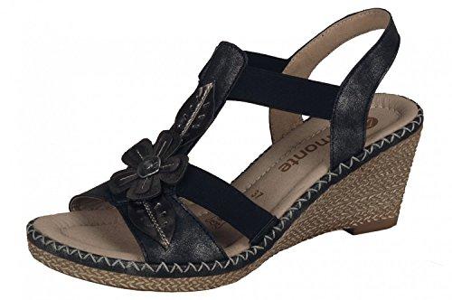 Remonte donne Sandalo D6737-45 Kombi nero schwarz/grau