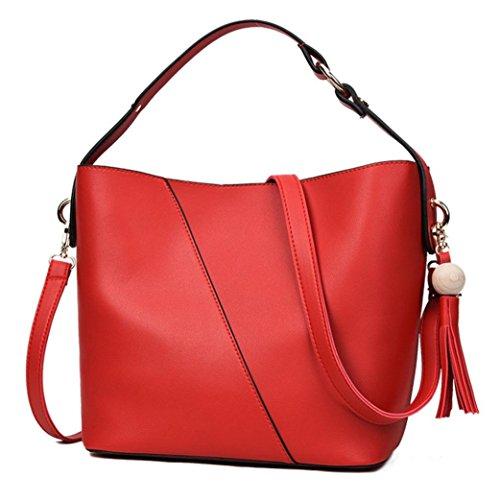Longra Fashion Women PU Leather Simple Tassel Buckets Sacchetti di spalla a mano singola Rosso Precio Muy Barato DlZ5KVXX