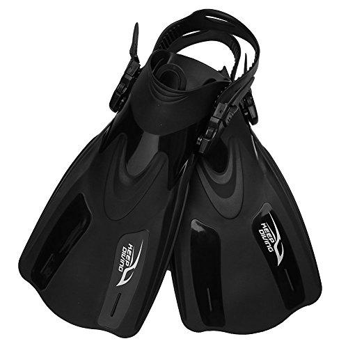 Tbest Aletas de Buceo y Natación para Hombre,Aleta Entrenamiento Professional Regulable Ajustable Diving Swim Fins Aletas de Snorkel Flipper Equipo de Buceo para Adultos Unisex (tamaño Grande-Negro)