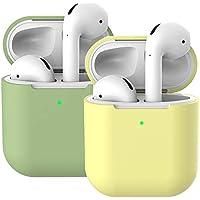 2X Funda Silicona Compatible con AirPods 2 & 1, Molylove Fundas Protectora de Silicona para AirPods, [LED Frontal Visible][Funciona con Carga inalámbrica] (AirPods 2, Verde matcha+ Amarillo)