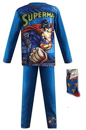 Jungen Schlafanzug Pyjama offiziellen Charakter lang kurz Avengers Superman Batman + Socken oder Brieftasche, Blau