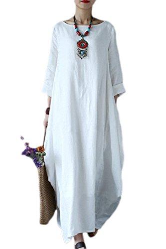 Le donne in lino e cotone vestito taglia maxi abiti white xxl