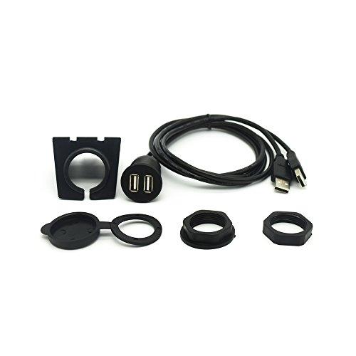 USB Dash Flush Mount Kabel-riipoo 6ft 2m Dual USB Male zu Female Armaturenbrett Panel AUX Verlängerung Flush Mount Kabel für Auto Boot Motorrad und andere (Erfüllt durch Amazon) -