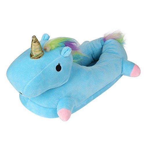 Vovotrade Pantofole Unicorno Donna Pantofole Peluche Babbucce Unicorno Blu