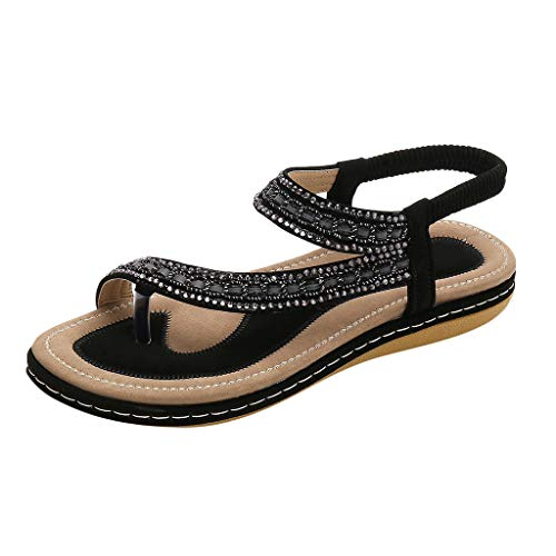 Precioul Damen Sommer Sandalen Bohemian Strass Flach Sandaletten Sommer Strand Schuhe Glitter Bequem und stilvoll qualitativ hochwertige Offener Zeh