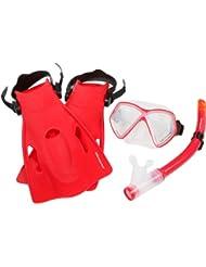 Ultrasport Miami - Set de snorkel, color rojo, talla 25-31