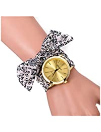 Reloj de pulsera - GENEVA Reloj de pulsera de banda de bufanda de puntos para mujeres de flor de color agrisado
