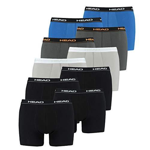 HEAD Herren Boxershorts 841001001 10er Pack, Wäschegröße:L;Artikel:4x Schwarz / 2x Grey / 2x Dark Shadow / 2x Blue/Black -