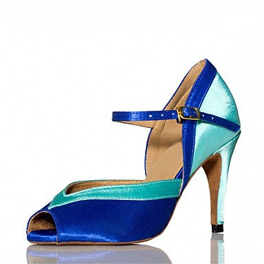 Silence @ Femme latine Salsa Dance Chaussures Samba satiné Talon Noir/bleu/marron/jaune/vert/rose Rose