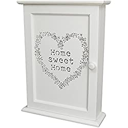 """Charming House Design, armadietto portachiavi da parete, in legno, in stile shabby chic, con ganci per le chiavi e scritta """"Home sweet home"""" (lingua italiana non garantita), colore: bianco"""