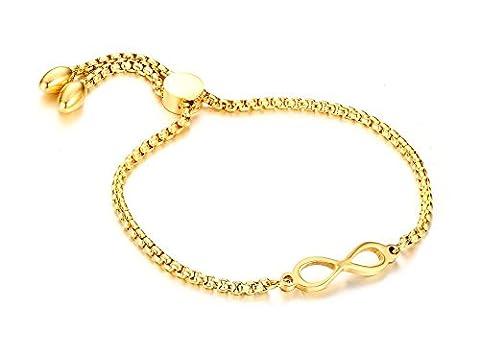 Vnox Frauen Edelstahl 18K Gold überzogene Perlen Kette Unendlichkeit Liebe Symbol Wristband Freundschaft verstellbares