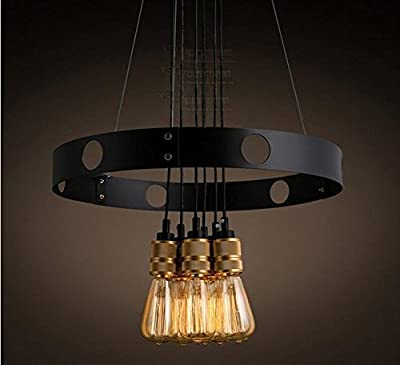 XIAOMIN Loft Industrial Retro Edison Bulb Iron Circle Creative Lighting Restaurant Bar Living Room Cafe Chandelier