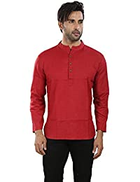 Vivids India Men's Red Short Kurta - G145