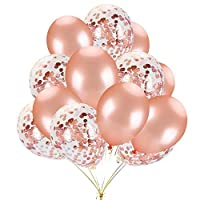 16 PCS Balloons Decorations Set Include Rose Gold Latex Balloons and Foil Confetti Filled Balloons for Birthday Wedding Baby Shower Party Decorations Supplies