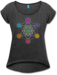 Spreadshirt Chakras Metatron's Cube Women's T-shirt with rolled up sleeves