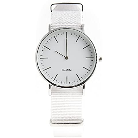 Reloj Correa Nailon blanco altavoz plata 40mm con Box Idea regalo Unisex