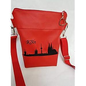 Handtasche Köln Umhängetasche Schultertasche Kunstleder rot schwarz handmade bestickt
