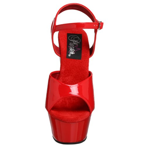 Pleaser Kiss-209, Sandales Plateau femme Rouge (Red Pat/Red)