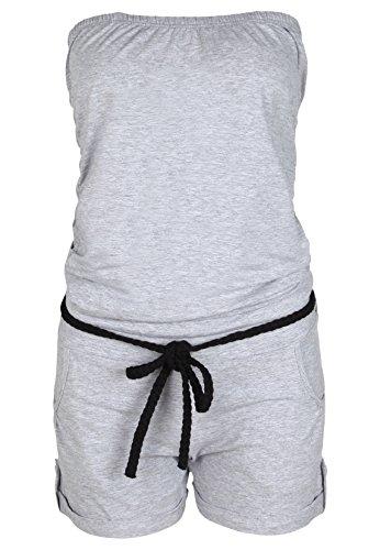 Stitch & Soul Damen Bandeau Jumpsuit |  Sexy Einteiler aus bequemen Jersey Material hell grau L