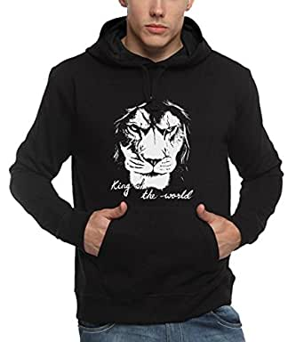 ADRO Men's Lion Printed Cotton Hoodies Hkin_Black_M