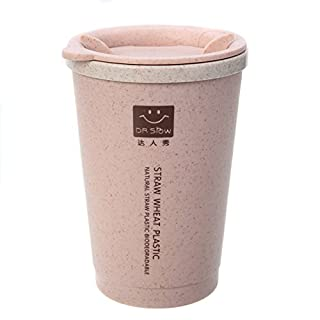 GEZICHTA Mug à café, 280ML à Double paroi Isolation en Fibre de blé Paille Leakproof Gobelet à Eau, Fibre Paille Tasse à café, Tasse à Thé tournant pour Home Office Voyage, Rose, 12.0 * 8.5 * 8.5cm