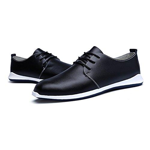 AFFINEST Masculin Lacées en cuir Style Britannique Casual Mode Plat Chaussures Nior
