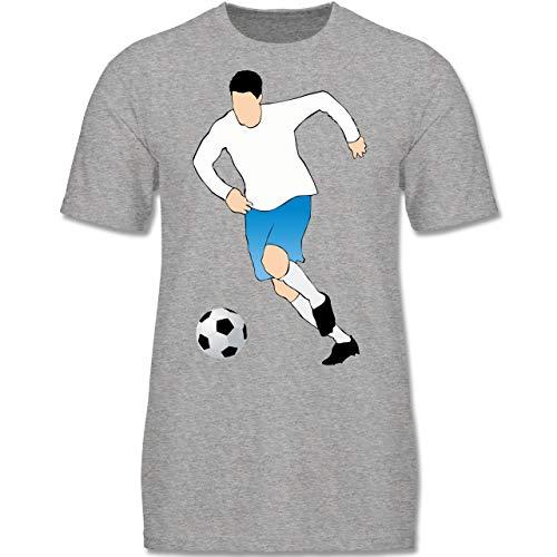 Sport Kind - Fußballspieler Ballbesitz Angriff Tor - 152-164 (12-14 Jahre) - Grau meliert - F140K - Jungen T-Shirt -