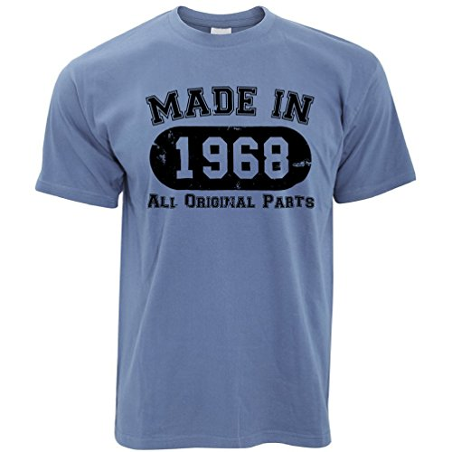 50th Birthday T Shirt Made In 1968 All Original Parts Stone Blue XX Large