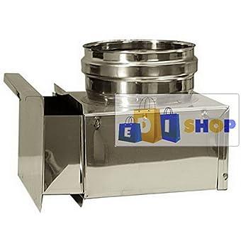 CHEMINEE PAROI SIMPLE TUYAU TUBE INOXIDABLE AISI 316 - dn 250 cassetta raccogli cenere