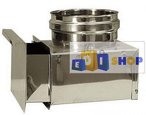 CHEMINEE PAROI SIMPLE TUYAU TUBE INOXIDABLE AISI 316 - dn 130 cassetta raccogli cenere