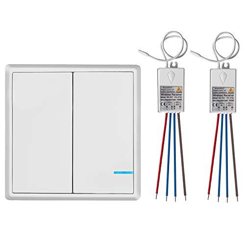 TSSS Dual-Wege Wireless Licht Schalter mit Mini Empfänger - Fernbedienung Multi-Einheit Beleuchtung Lampen - Schnell erstellen Ein / Aus Verdrahtung Schalter-Panel - Outdoor 600m Innenaufnahme 50m