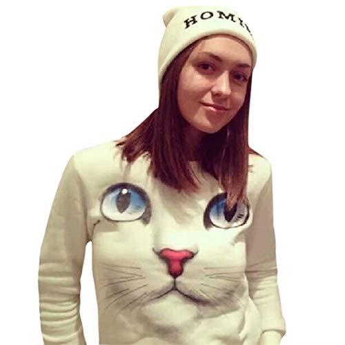 Yesmile Damen Kapuzenpullover Mode 3D Katze Pullover Frauen Gedruckt Brief Weihnachten Langarm Sweatshirt Pullover Tops Bluse Shirt