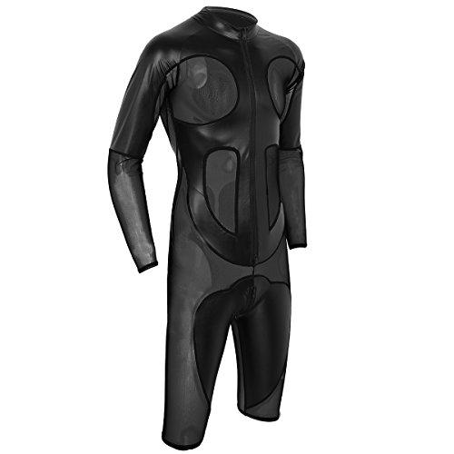 CHICTRY Herren Body Glänzend Wetlook Overall mit Transparent Mesh Schwarz Bodysuit Männer Boxershorts Unterwäsche M-XXL Schwarz X-Large