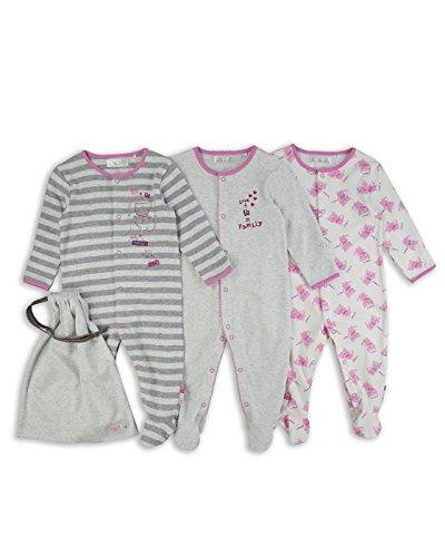 The Essential One - Baby Mädchen Katze Schlafanzuge/Schlafanzug/langarmeliger Body/ Strampler (3-er Pack mit Beutel) - Rosa / Grau - ESS190 - 62-68cm