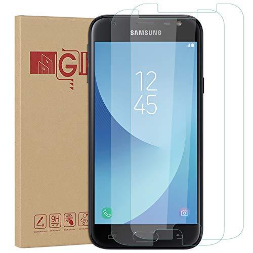 Nasharia [2 Stück Galaxy J3 2017 Schutzfolie, HD Ultra-klar Panzerglasfolie für Samsung Galaxy J3 2017, 9H Härte, Anti-Kratzen, Anti-Öl, Anti-Bläschen,2.5D abgerundete Kanten. Leicht Anzubringen.
