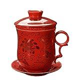 ufengke® 4 Pezzi Dehua Ceramica Tazza Da Tè Con Filtro, Piattino, E Coperchio-Rosso E Crisantemo