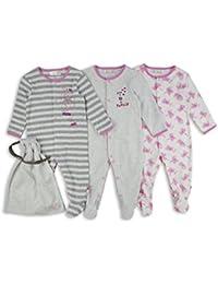 The Essential One - Baby Mädchen Katze Schlafanzuge/Schlafanzug/langarmeliger Body/ Strampler (3-er Pack mit Beutel) – Rosa / Grau - ESS190