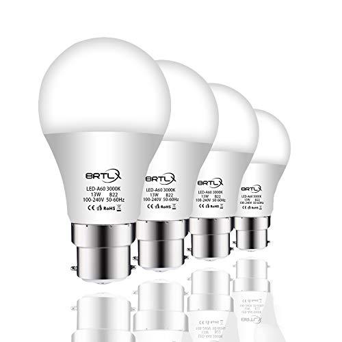 BRTLX Ampoules LED Standard Culot B22, A60 13W équivalent 100W, Blanc Chaud 3000K, Dépolie, Lot de 4