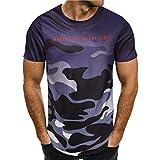 TIFIY Sport T-Shirt Herren Camouflage Rundhalsausschnitt Hip Hop Pullover Schlank Kurzarm-Shirt Outdoor-Sweatshirt Jogging Trikot Männer Bluse