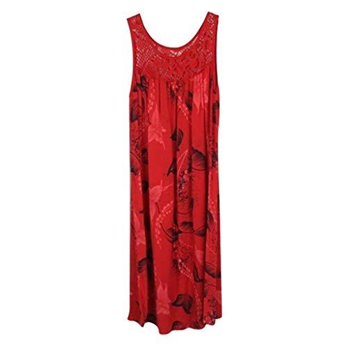 Maxikleid Elegant Blumen Ärmlos Rückenfrei Split Lang Kleid Strandkleid Weiß(Rot-2,Large) ()