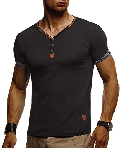 Leif Nelson Herren Sommer T-Shirt V-Ausschnitt Slim Fit Baumwolle-Anteil Moderner Männer T-Shirt V-Neck Hoodie-Sweatshirt Kurzarm lang LN1390 Schwarz Large