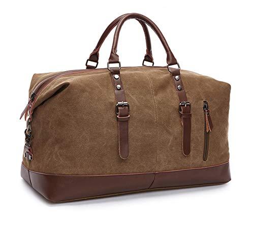 Hywot Unisex-Reisetasche Aus Segeltuch Leder Reisetaschen Handgepäcktasche Reisetaschen Handtaschen Reisetasche Weekender-Tasche Mit Großer Kapazität,Brown - - Brown-leder-gepäck