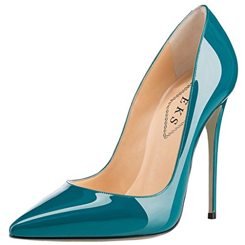 Teal Patent Schuhe (EKS Damen Teal Lackleder Spitz High Heels Kleid-Partei Pumps 40 EU)