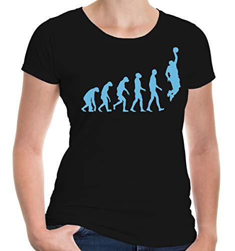 (buXsbaum Damen Girlie T-Shirt The Evolution of Basketball | Development Ballsport Fanshirt Trikot | M, Schwarz)