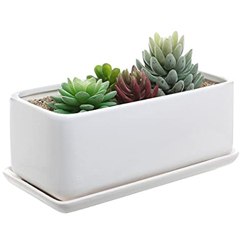 MyGift 10 inch Rectangular Modern Minimalist White Ceramic Succulent Planter Pot / Window Box with Saucer